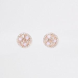 Rose gold tone silk stone stud earrings