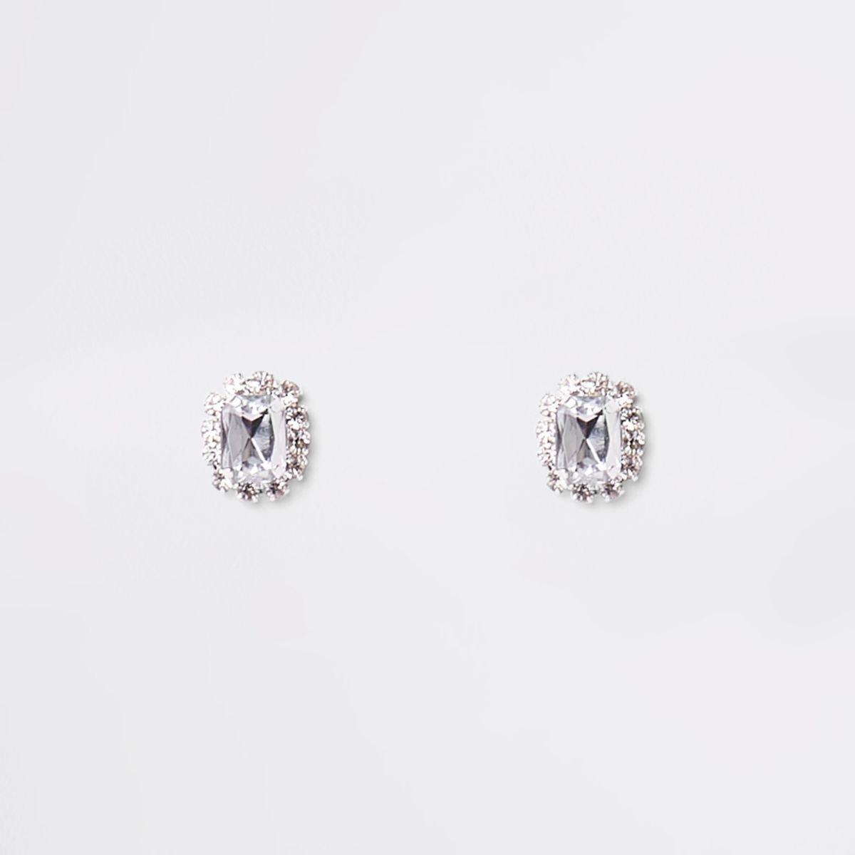 Silver tone diamante stone stud earrings