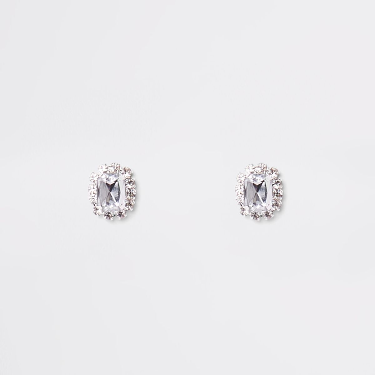 Silver tone rhinestone stone stud earrings