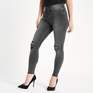Petite Black Molly studded ripped jegging