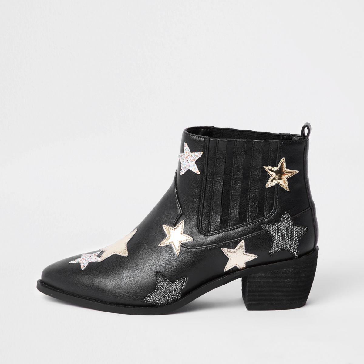 Black star print boot