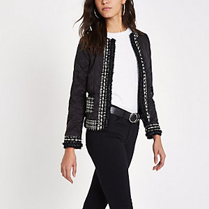Black pear trim quilted trophy jacket