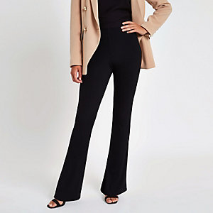 Black rib flared trousers