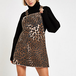 Denim leopard print dungaree dress