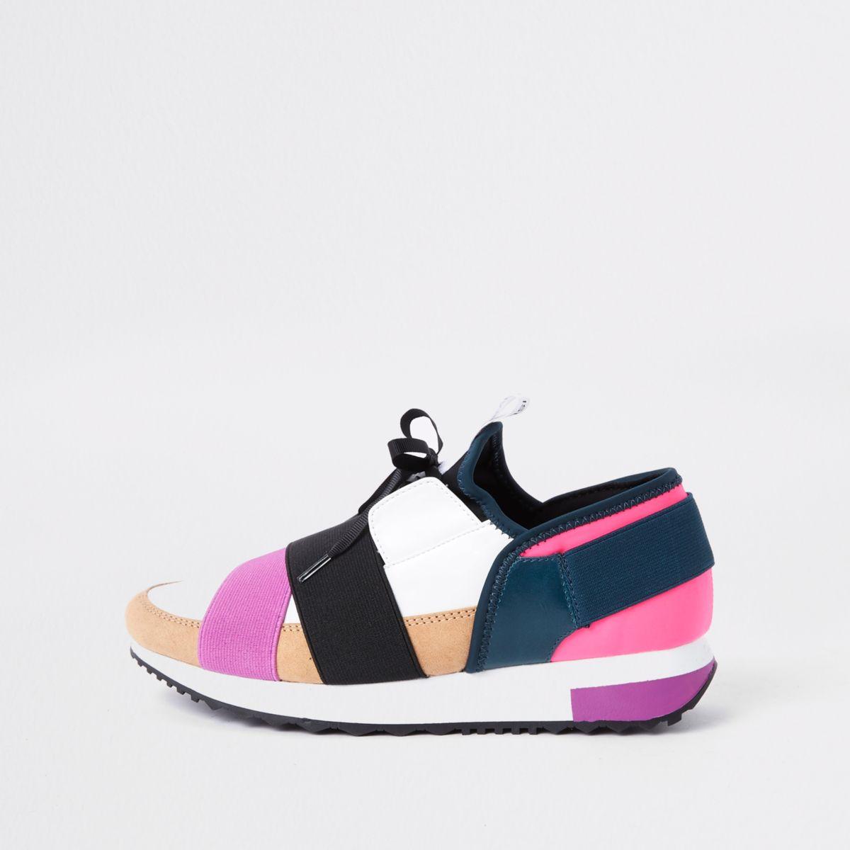 Beige elastic lace-up runner sneakers