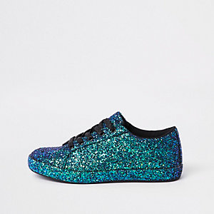 Green glitter lace up trainers