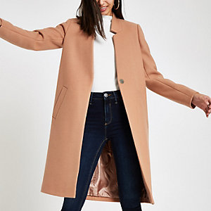 Camel knit collarless longline coat