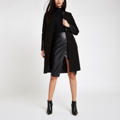 Black Faux Leather Trim Tailored Oat by River Island