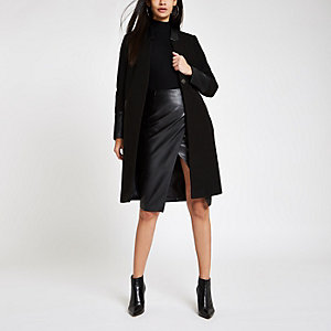 Black faux leather trim tailored oat