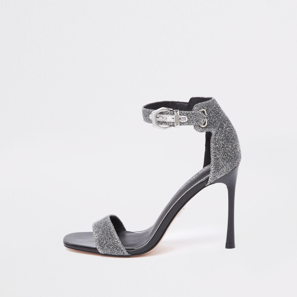 Silver glitter barely there sandals
