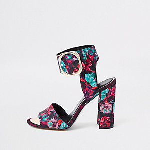 Black floral print block heel sandals