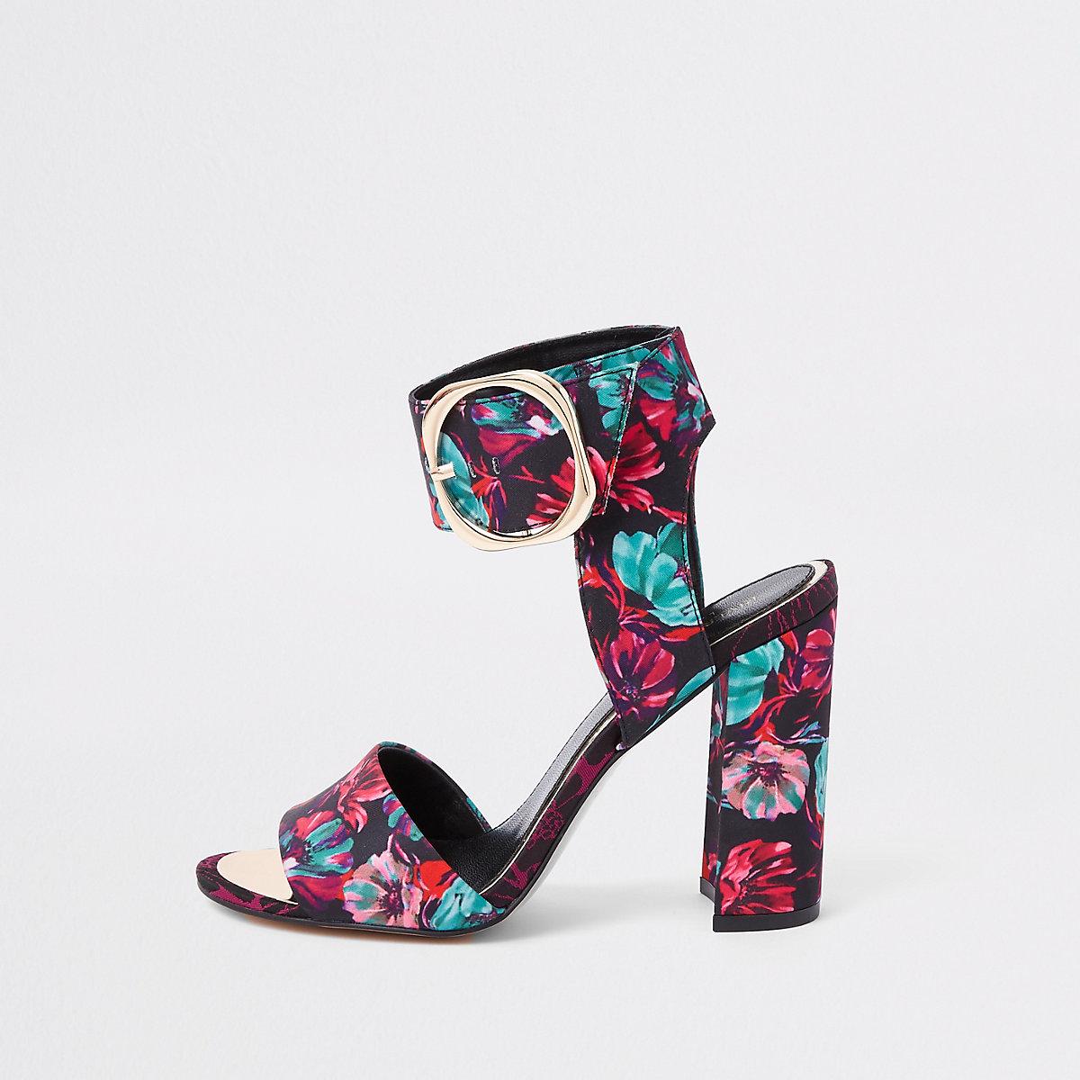 Black floral print block heel sandals