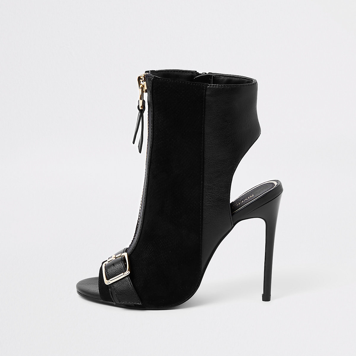 Black zip front buckle shoe boots