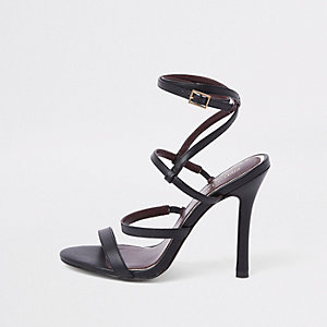Black strappy skinny heel sandals