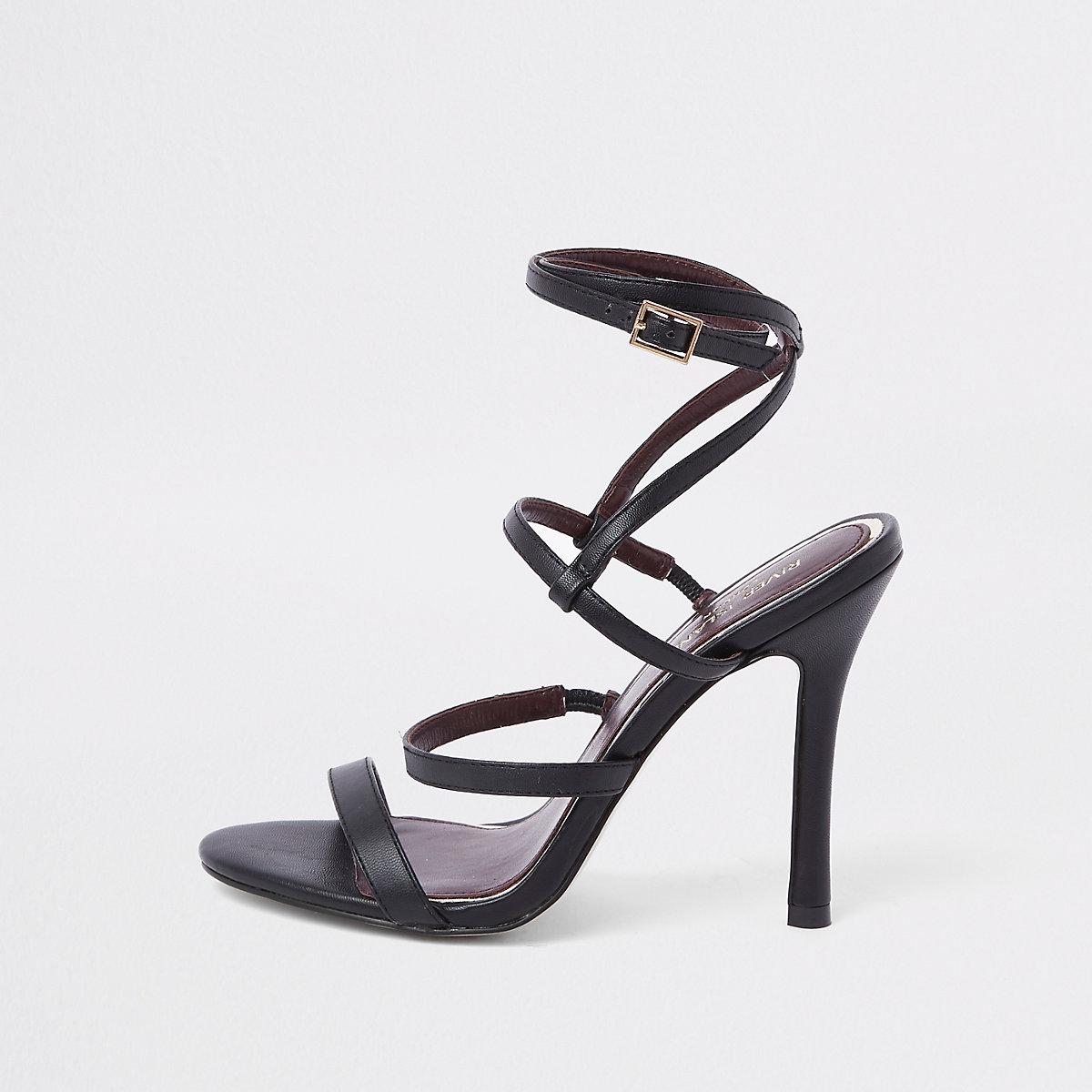Black strappy skinny heel sandals