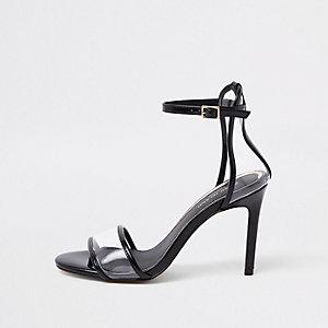 Zwarte minimalistische perspex sandalen