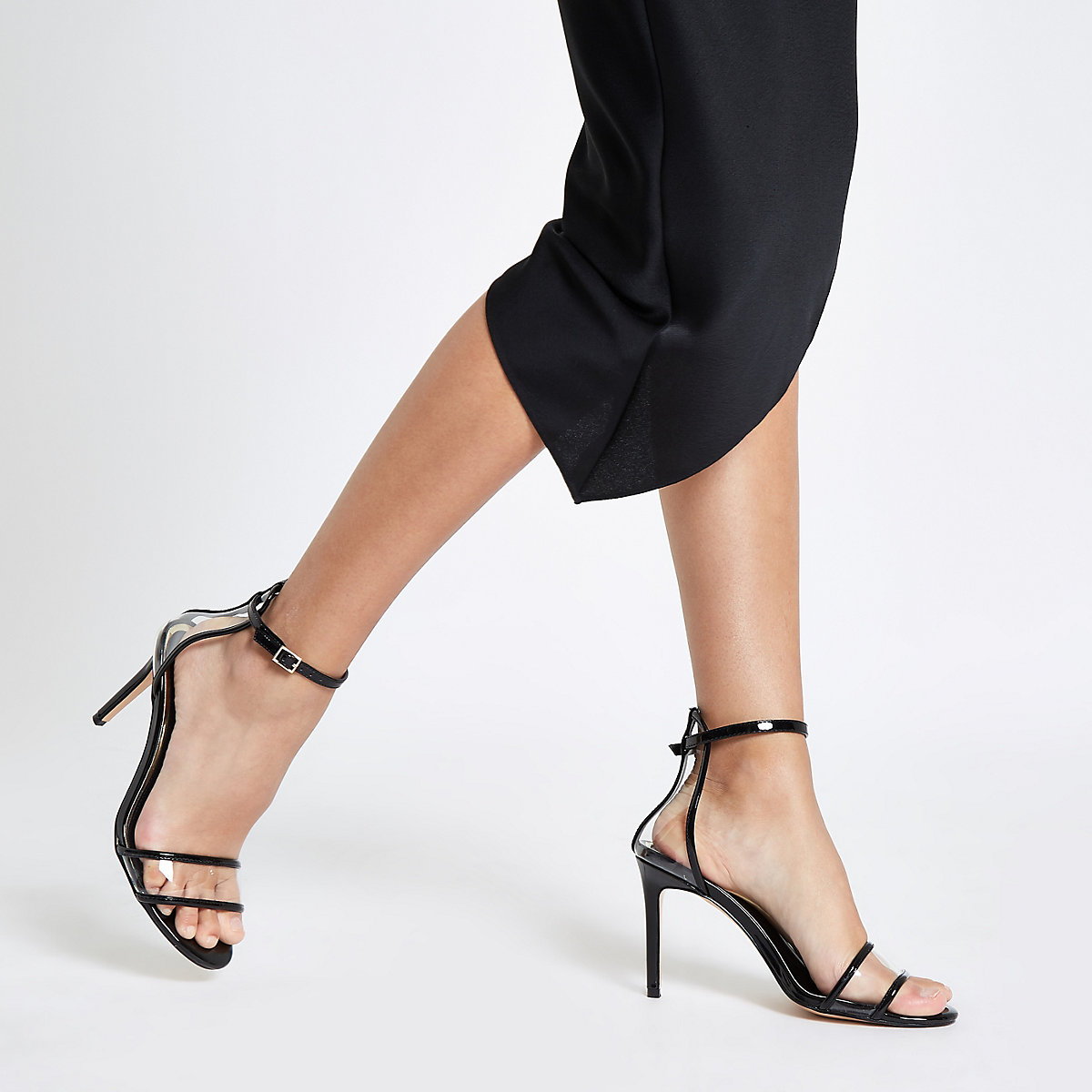 fbbae8605b7464 ... Black perspex barely there sandals ...