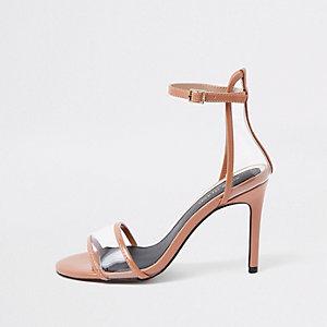 Sandales minimalistes en perspex rose clair