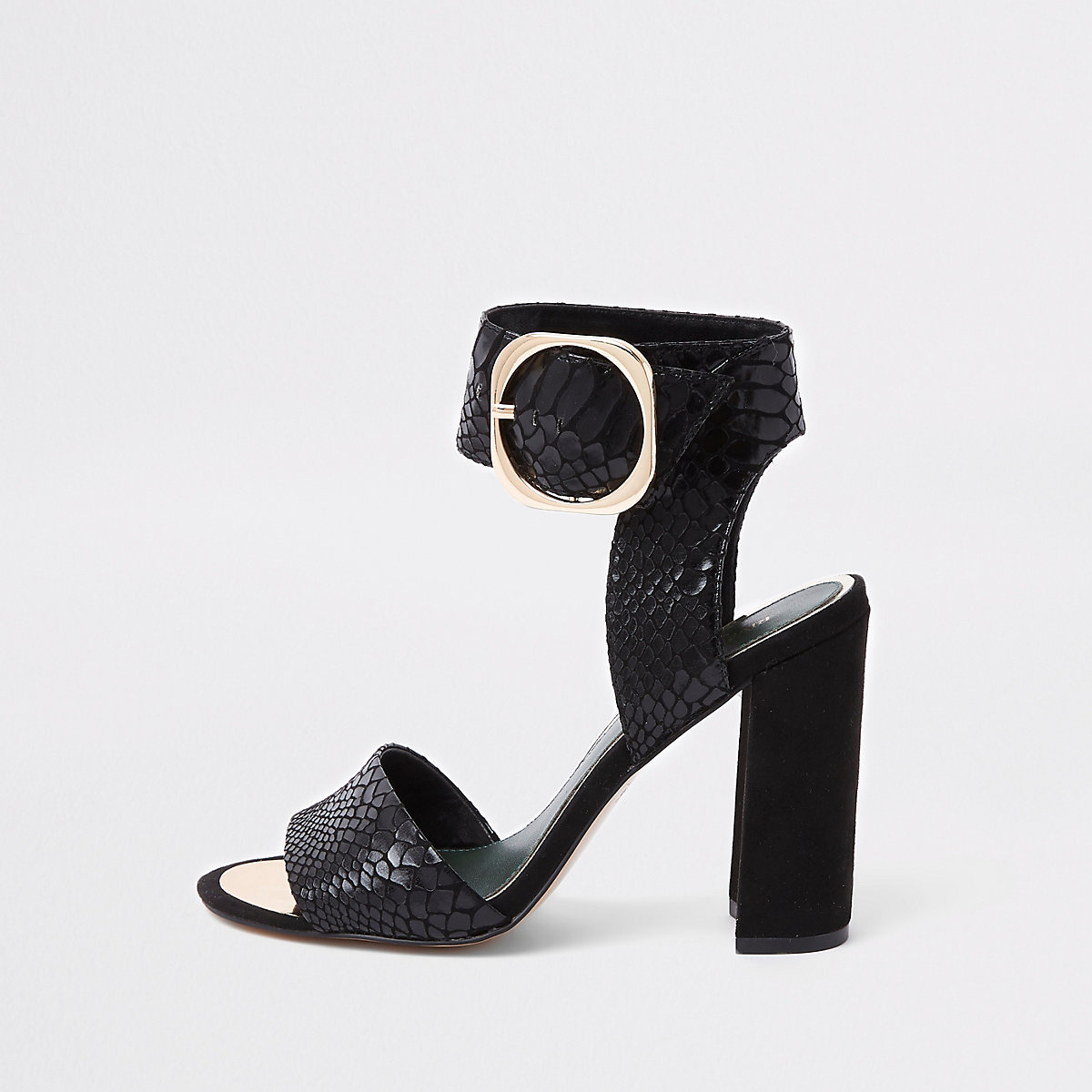 Black croc embossed block heel sandals