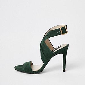 Dark green wrap leather skinny heel sandals