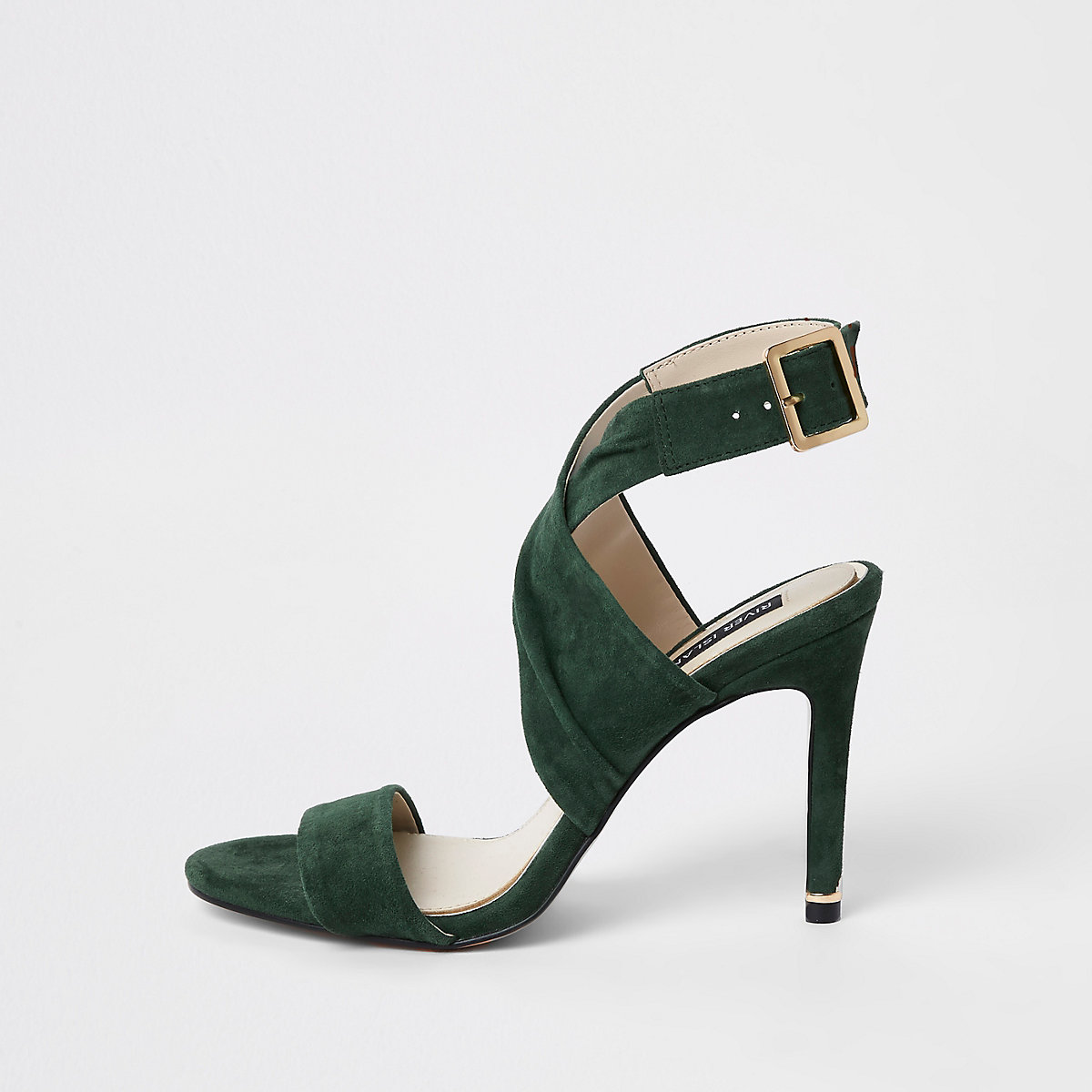 Dark green wrap leather skinny heel sandals