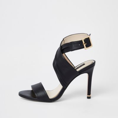 Black Leather Wrap Skinny Heel Sandals by River Island