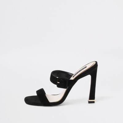Black Suede Double Strap Mules by River Island