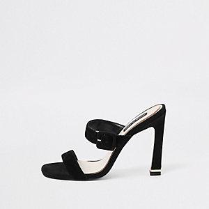 Black suede double strap mules
