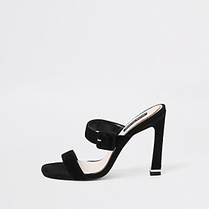 Black suede double strap mules