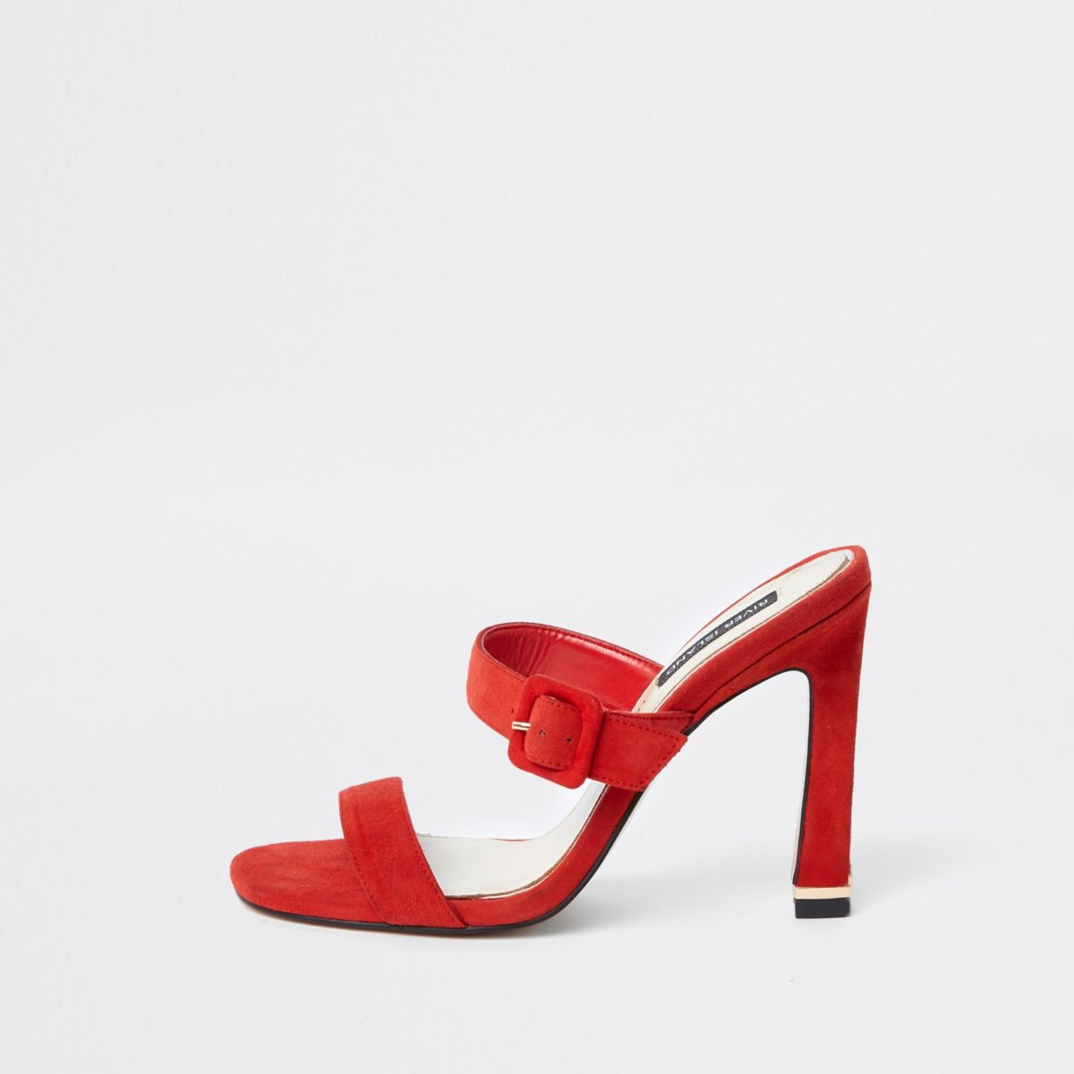 Red suede double strap mules
