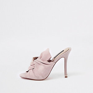 Pink bow mule slim heel sandals