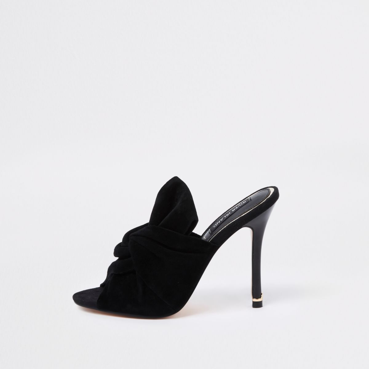Black bow mule slim heel sandals