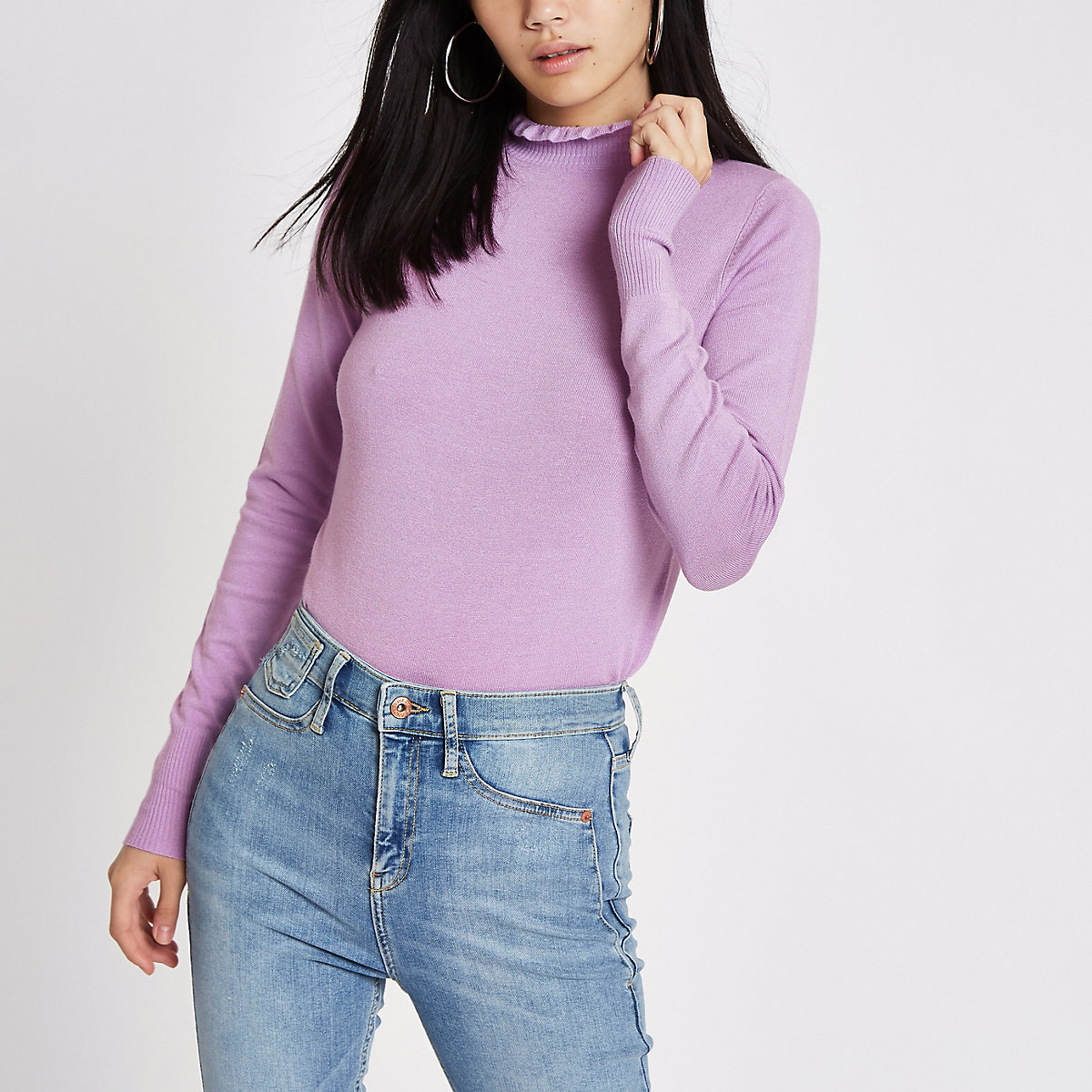 Purple frill high neck long sleeve turtleneck