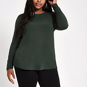 Plus dark green crew neck long sleeve top