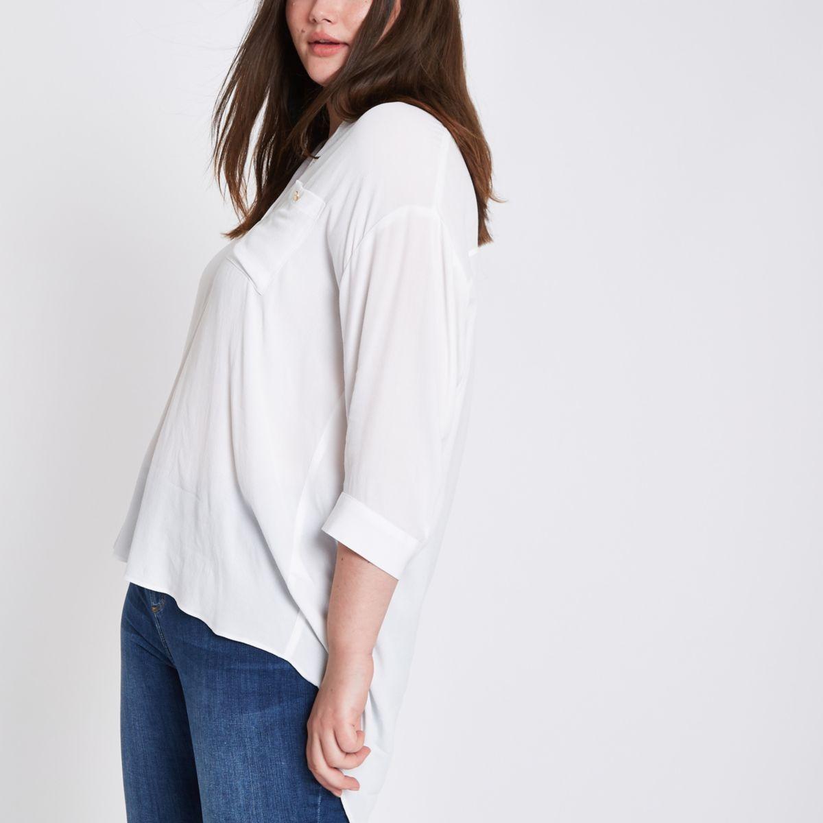 Plus white button back shirt