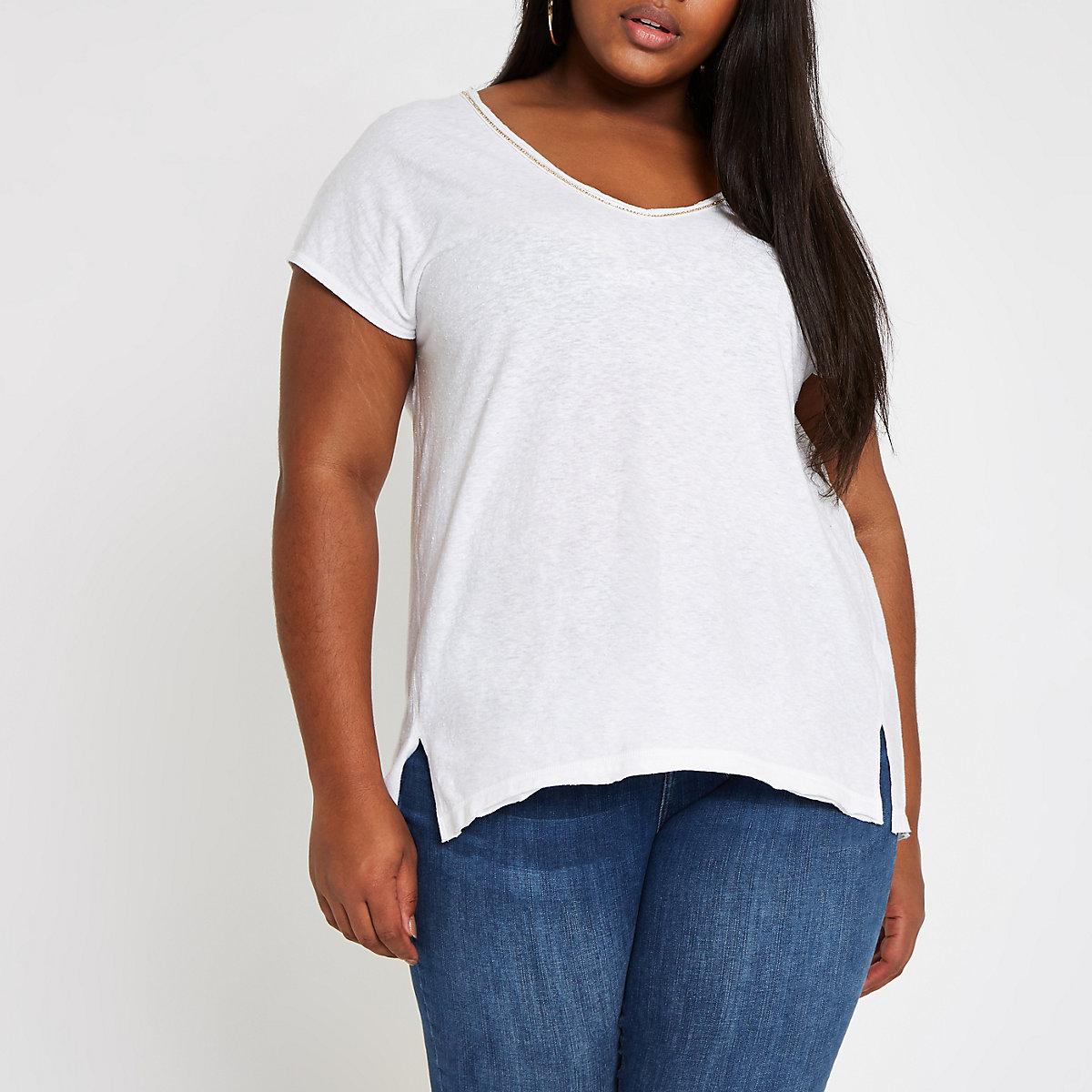 Plus white rhinestone neck embellished T-shirt