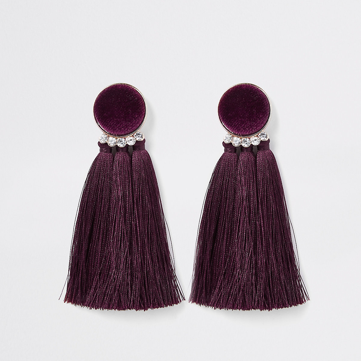 Dark red velvet tassel clip on earrings