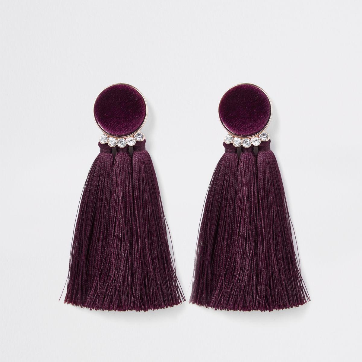 Dark red velvet tassel clip on earrings