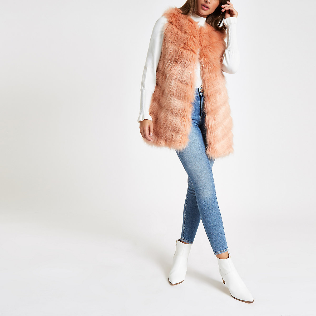 Pink faux fur chevron panelled vest