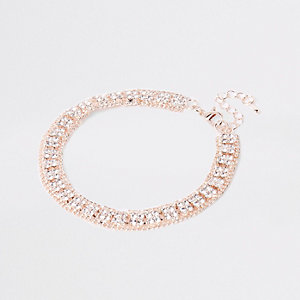 Rose gold tone square diamante pave anklet