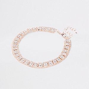 Bracelet de cheville ton or rose à strass carrés