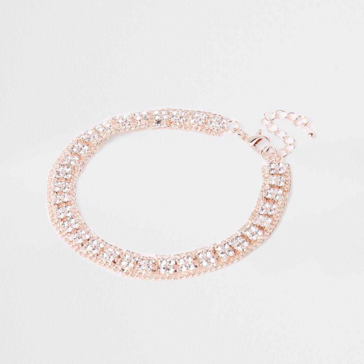 Rose gold tone square diamante pave anklet