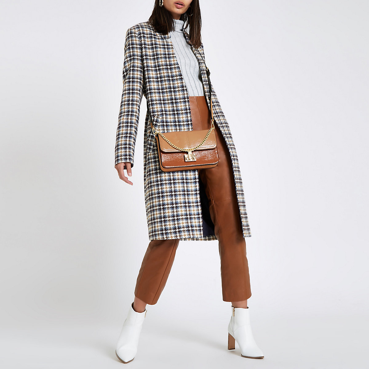 Cream check knit longline coat