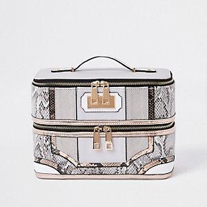 Grey snake skin panel vanity case