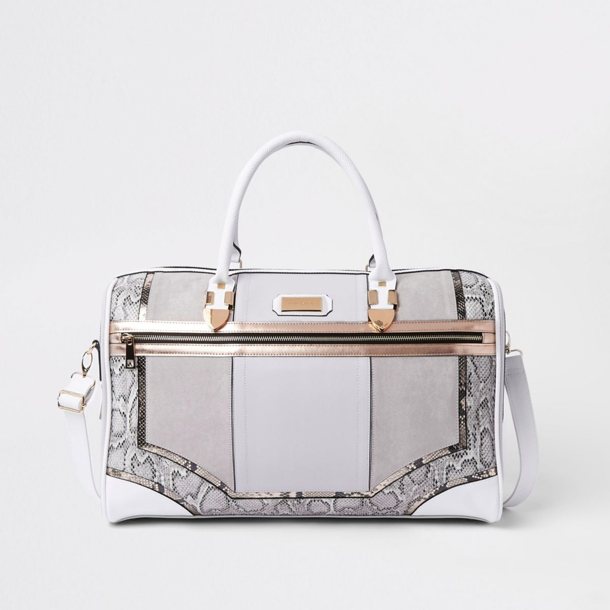 Grey snake skin panel cutabout holdall
