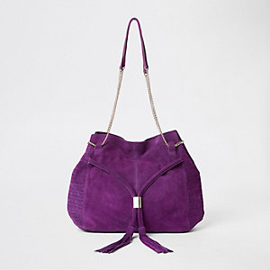 Purple leathe chain slouch bag