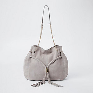 Light grey leather chain slouch bag