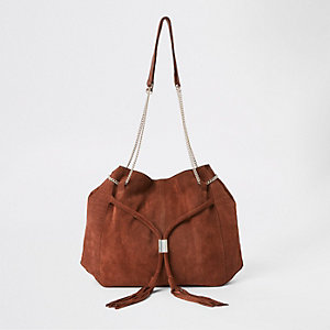 Brown leather chain slouch bag