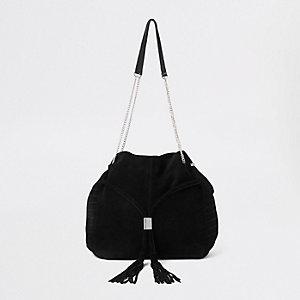 Schwarze Tote Bag aus Leder