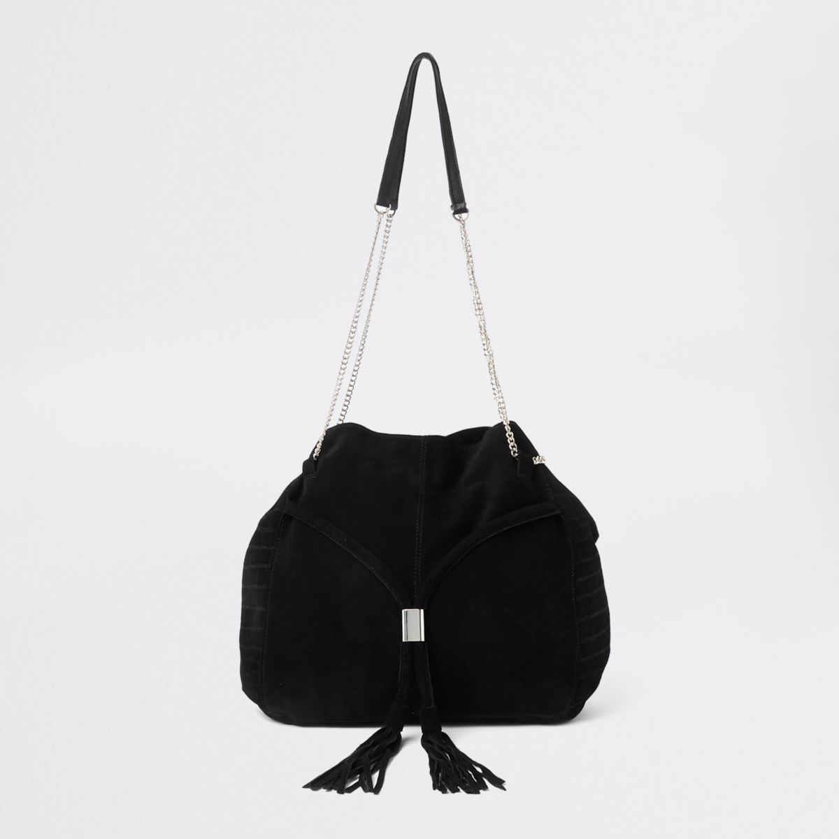 Black leather gold tone chain handle tote bag